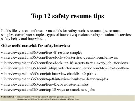 top 12 safety resume tips