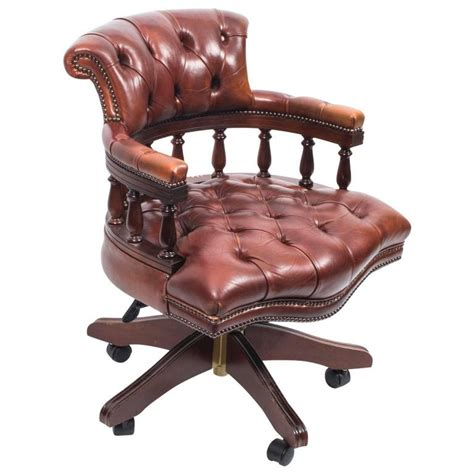 Handmade Chairs - handmade leather captains desk chair chagne for