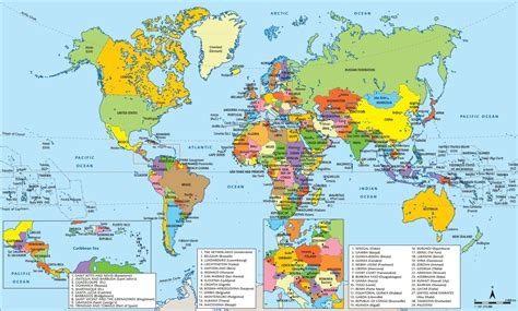 world political map with country names large printable