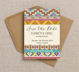 Wedding Save The Date Cards Free Printable Bohemian Aztec Ikat Wedding Invitation And Instagram Hashtag Print