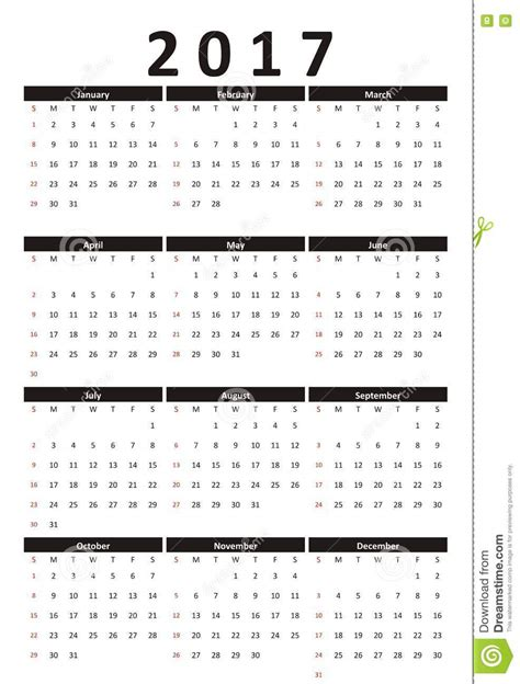 Black And White Calendar Calendar 2017 Year Strict Business Style Black And White