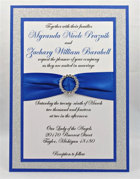blue and silver wedding invitation ideas stunning royal blue silver glitter wedding invitation