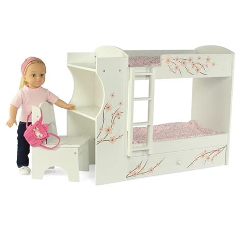 doll desk 18 inch doll furniture bunk bed with built in desk and