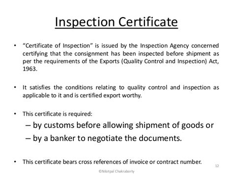 certificate of inspection template documents for imports and exports