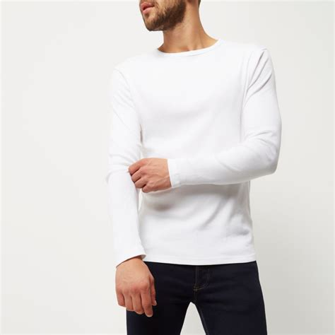 Tshirt Mens White Front white ribbed slim fit sleeve t shirt sleeve t