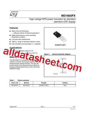definition diode data sheet md1802fx datasheet pdf stmicroelectronics