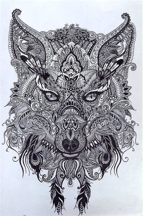 quot zentagle ornate mandala wolf fox spirit animal design