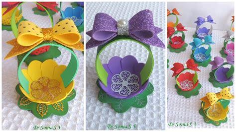 canastas para dulces foami c 243 mo hacer canastitas con forma de flor para cumplea 241 os