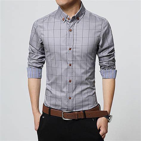 Plaid Casual Shirt mens fashion stylish plaid dress shirts luxury casual slim