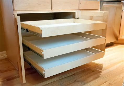 Kitchen cabinets and roll out drawers