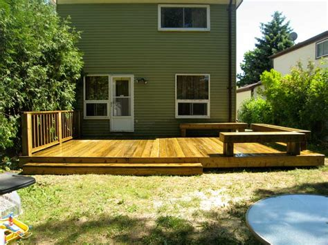 Backyard Deck Ideas Ground Level Custom Decks Brton Bolton Caledon Milton Woodbridge