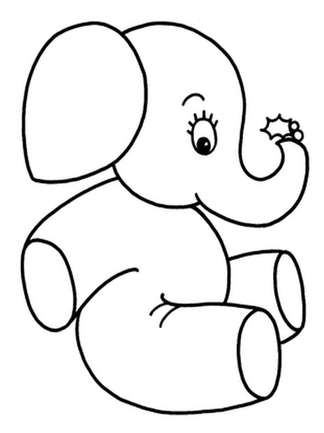coloring pages of cartoon elephants elephant drawings for kids cliparts co