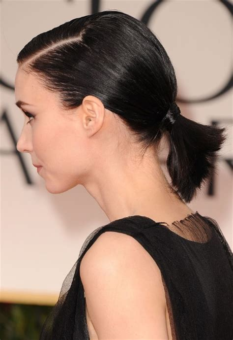 black tie hair styles for very short hair rooney mara short haircut cute black ponytail