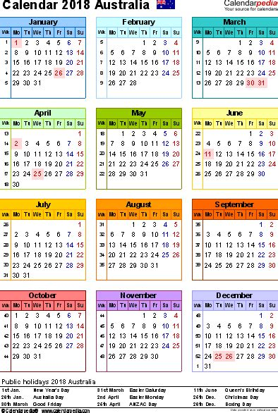 australian calendar template 2018 calendar school merry and happy