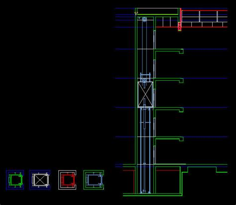 section cad block cad drawing lift elevator car plans section