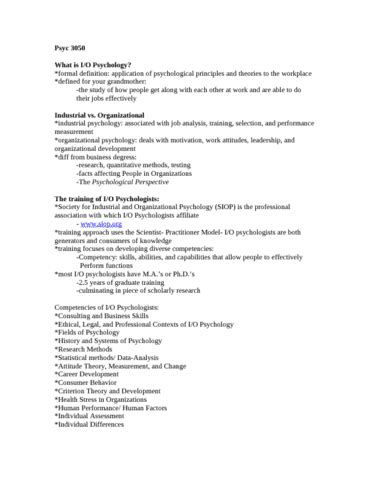 Industrial Psychology Notes Mba by Psyc 3050 Notes Industrial Organization Psychology