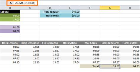 formato horas extras calcular horas extras en excel excel total