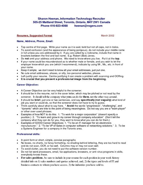 canada resume format it resume cover letter sle