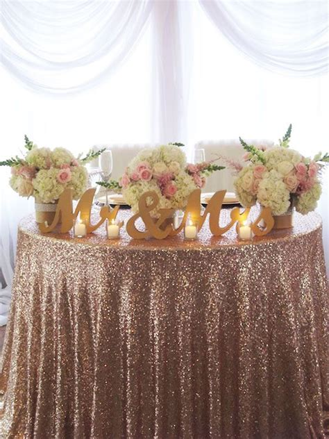 Rent Letters For Wedding fabulous pink sequin table linens with gold mr mrs