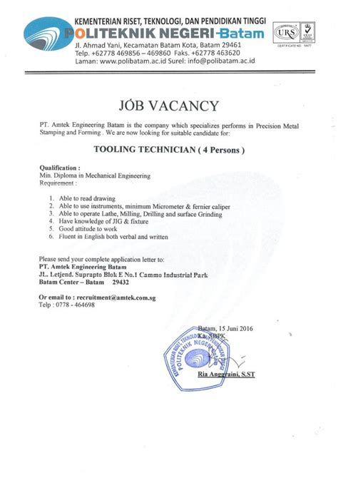 job vacancy pt amtek engineering batam polibatam