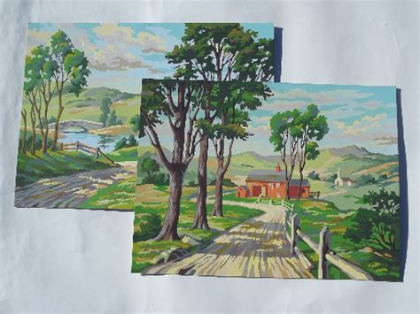 Large Garage Big Retro Paint By Number Paintings Country Road W Farm