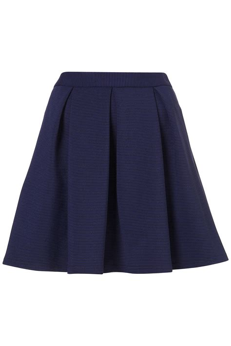 topshop ribbed pleated skirt in blue lyst