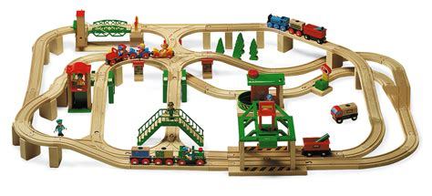 brio wooden train set brio train raised 4 way layout estimated track