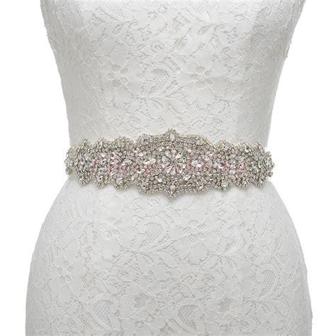 dazzling rhinestone sash belt for bridesmaid lace
