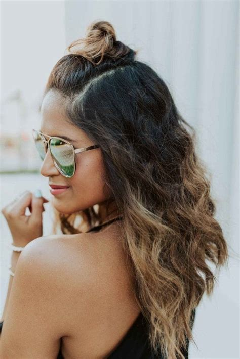 hairstyles with half bun half up half down bun styles easy styles to obsess over