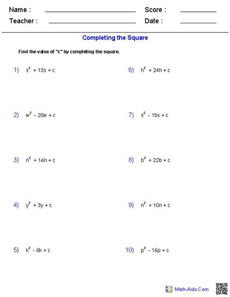Solve By Completing The Square Worksheet by Quadratic Function Worksheets And The Square On