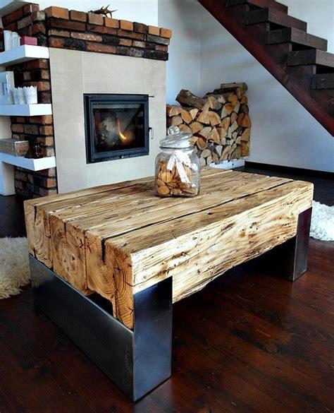 handmade reclaimed wood steel coffee table vintage