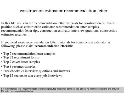 Construction Estimator Cover Letter Construction Estimator Recommendation Letter