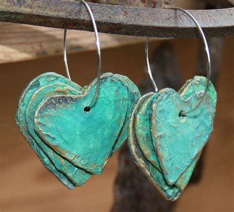 How To Make Paper Mache Jewelry - papier mache earrings 3 rustic hearts on a hoop with