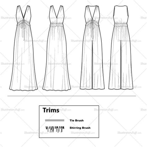dress template for adobe illustrator 70 s vibe jumpsuit maxi dress flat template illustrator