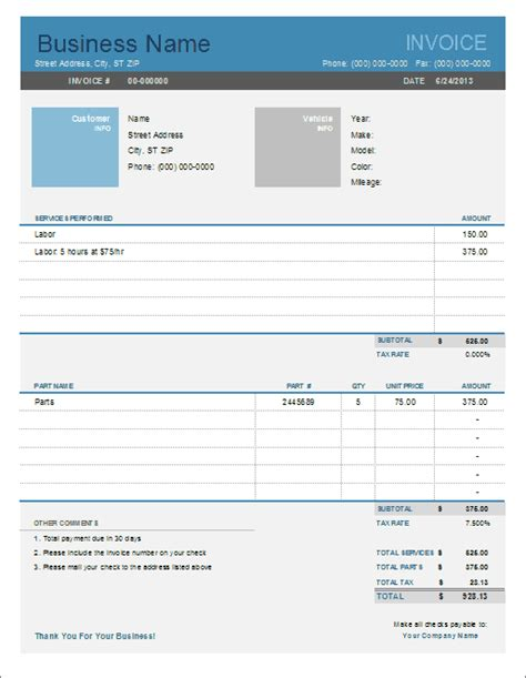 car service receipt template auto repair invoice template for excel