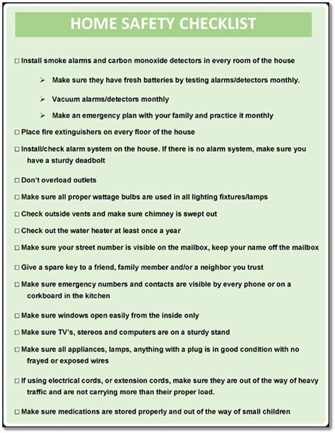 printable home safety checklist  worksheets word excel
