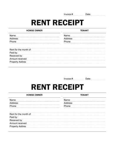printable rent receipt 10 free rent receipt templates