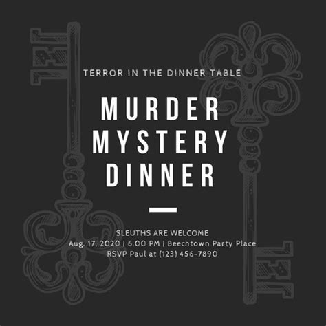 Customize 360 Vintage Invitation Templates Online Canva Murder Mystery Dinner Template