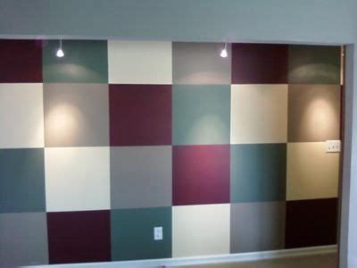 different paint colors accent wall with squares painted in different colors here