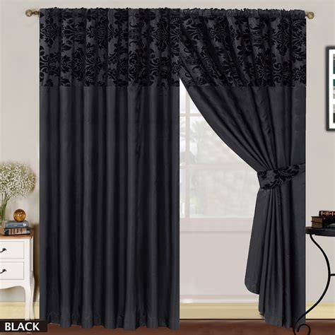Black Damask Curtains Luxury Damask Curtains Pair Of Half Flock Pencil Pleat Window Curtain Ebay