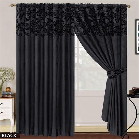 Luxury damask curtains pair of half flock pencil pleat window curtain ebay