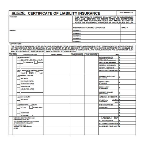 insurance templates certificate of liability insurance template template design