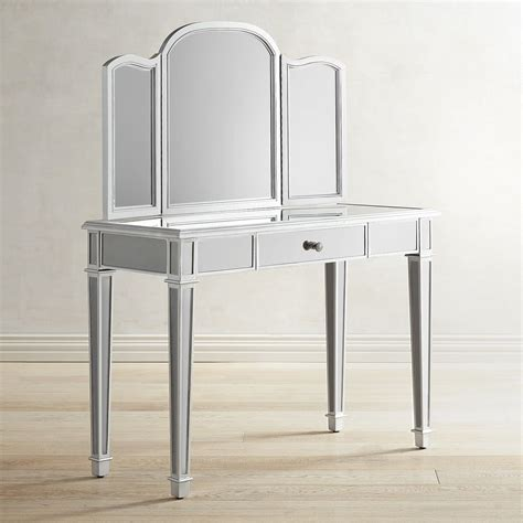 mirrored bedroom vanity hayworth silver mirror vanity pier 1 imports