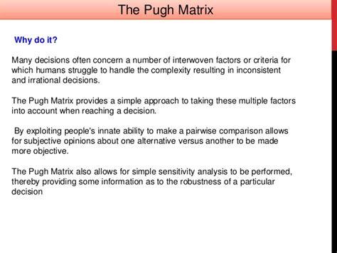 uprr design criteria pugh matrix concept evaluation in design
