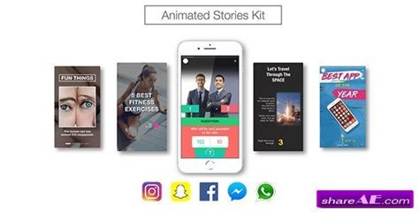 Videohive Animated Stories Kit Instagram Snapchat Facebook 187 Free After Effects Templates Snapchat After Effects Template