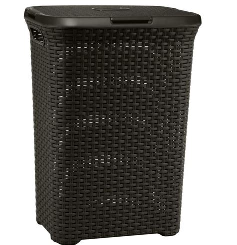 Plastic Clothes Her Laundry Basket Lid Brown Bin Brown Laundry