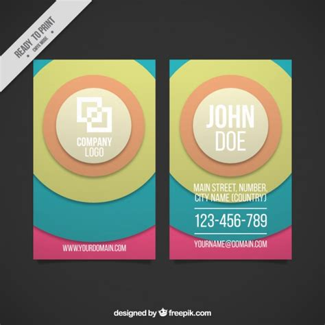 Business Card Template Circle by Circles Business Card Template Vector Premium