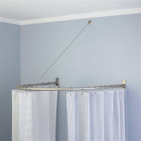 shower curtain round rod naiture brass half oval shower curtain rod in 2 sizes and