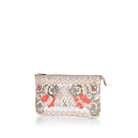 beaded clutch river island light pink beaded clutch bag in floral pink