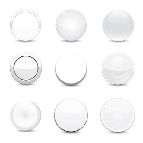 rund betten white button set vector free